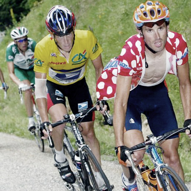 Iban Mayo tangling with Lance Armstrong in a Tour prelude, the Dauphine. The rivalry gave Orbea great brand recognition in the United States