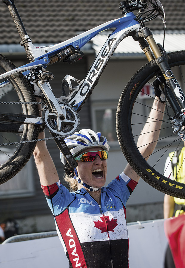 A few years later, Catharine Pendrel returned to the top step of Worlds, this time aboard an Oiz